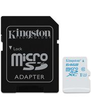 Kingston microSDHC 64GB UHS-I U3 Action Card, 45MB/s zápis + SD adaptér